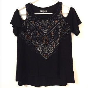 Mudd Black Peekaboo Shoulder Top Size XS